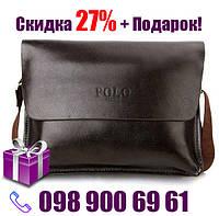 Мужская сумка Polo Videng горизонтальная | Темно-коричневая