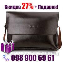 Мужская сумка Polo Videng горизонтальная   Темно-коричневая