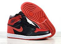 Кроссовки баскетбольные Nike Air Jordan Retro в стиле Найк Джордан, кожа код 4S-1183. Черно-красные