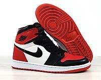 Кроссовки баскетбольные Nike Air Jordan Retro в стиле Найк Джордан,кожа код 4S-1187.Черно-красные с белым