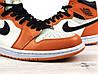 Кроссовки баскетбольные Nike Air Jordan Retro в стиле Найк Джордан,кожа код 4S-1189. Оранжево-белые - Фото