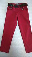 Детские штаны для мальчика. Школьные брюки красные. Размеры 122-146