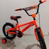 """Велосипед 16"""" дюймов 2-х колесный Crosser G960 оранжевый, дополнительно ручной тормоз,доп.колеса, звоночек"""