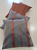 Комплект подушек полоска, тераккот и соломенные, 4шт, фото 1