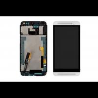 Дисплей для HTC One E8 Dual Sim с тачскрином и серебристой рамкой черный Оригинал