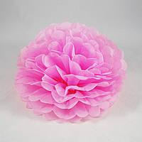 Помпон бумажный розовый 25 см.