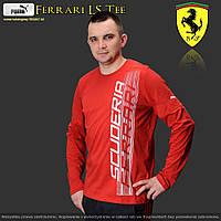 Футболка с длинными рукавами, long sleeve, спортивного стиля, Puma Ferrari, красная, хлопковая ткань, XL-XXL