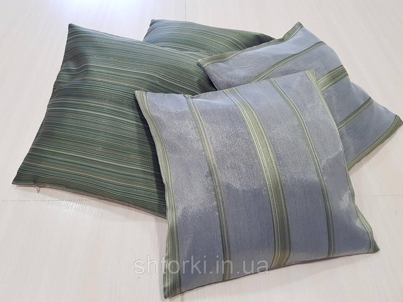Комплект подушек зеленые полосочка , 4шт