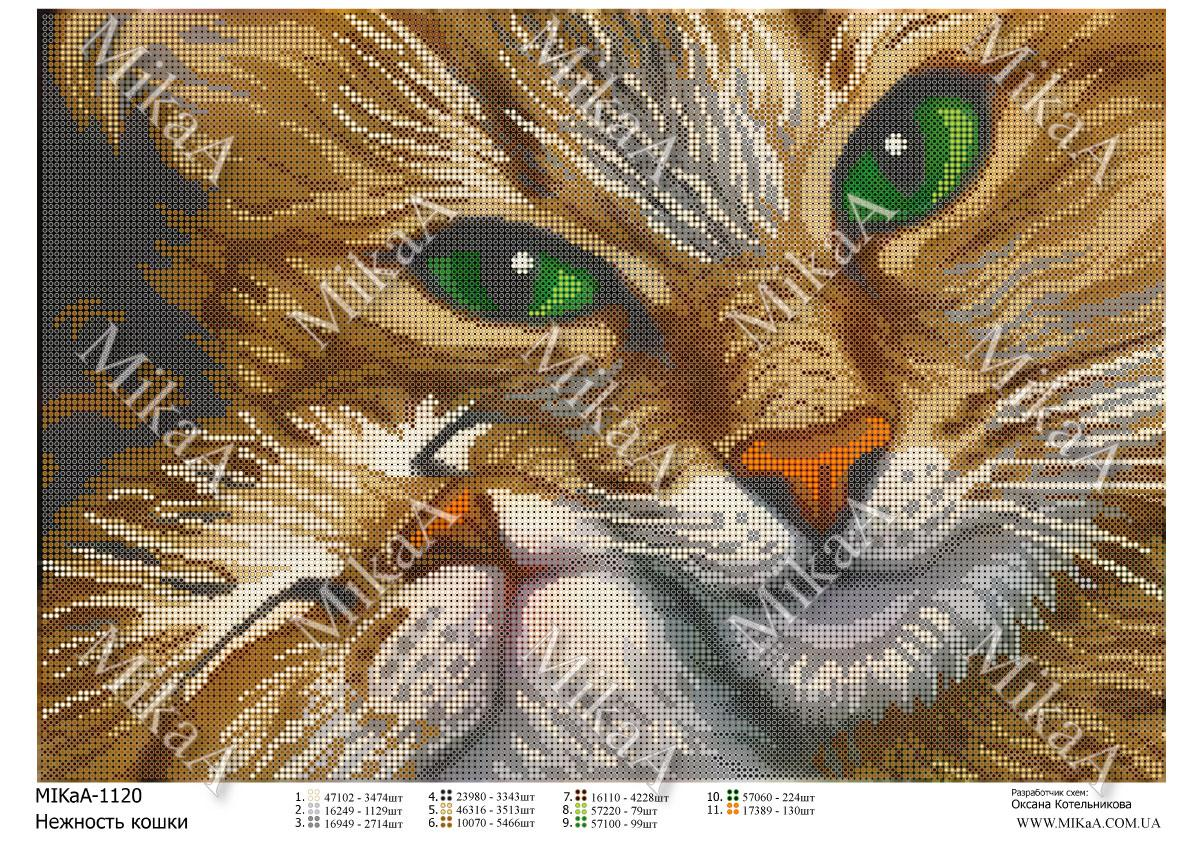 """Схема для повної зашиття бісером - """"Ніжність кішки"""" А3"""