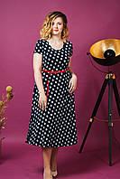 Женское платье летнее Горох Миди. Размер 50-54