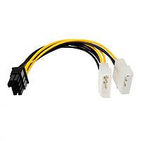 Переходник 2x Molex 4pin to PCI-e 8pin male 18AWG