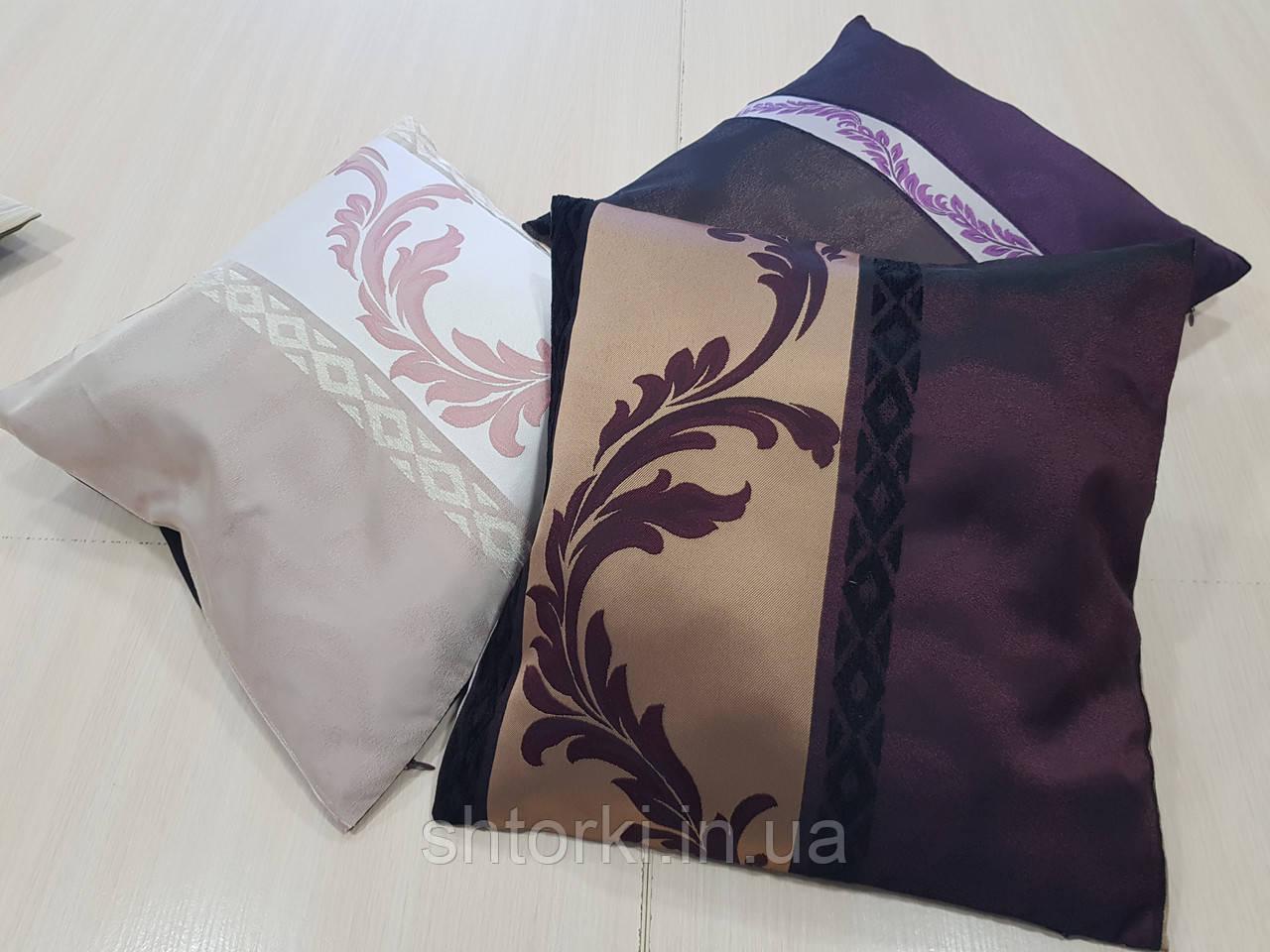 Комплект подушек сирень, розовая, бордо, 3шт