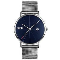 Оригинальные наручные часы Skmei 9183 Tiger Серебристые с синим циферблатом