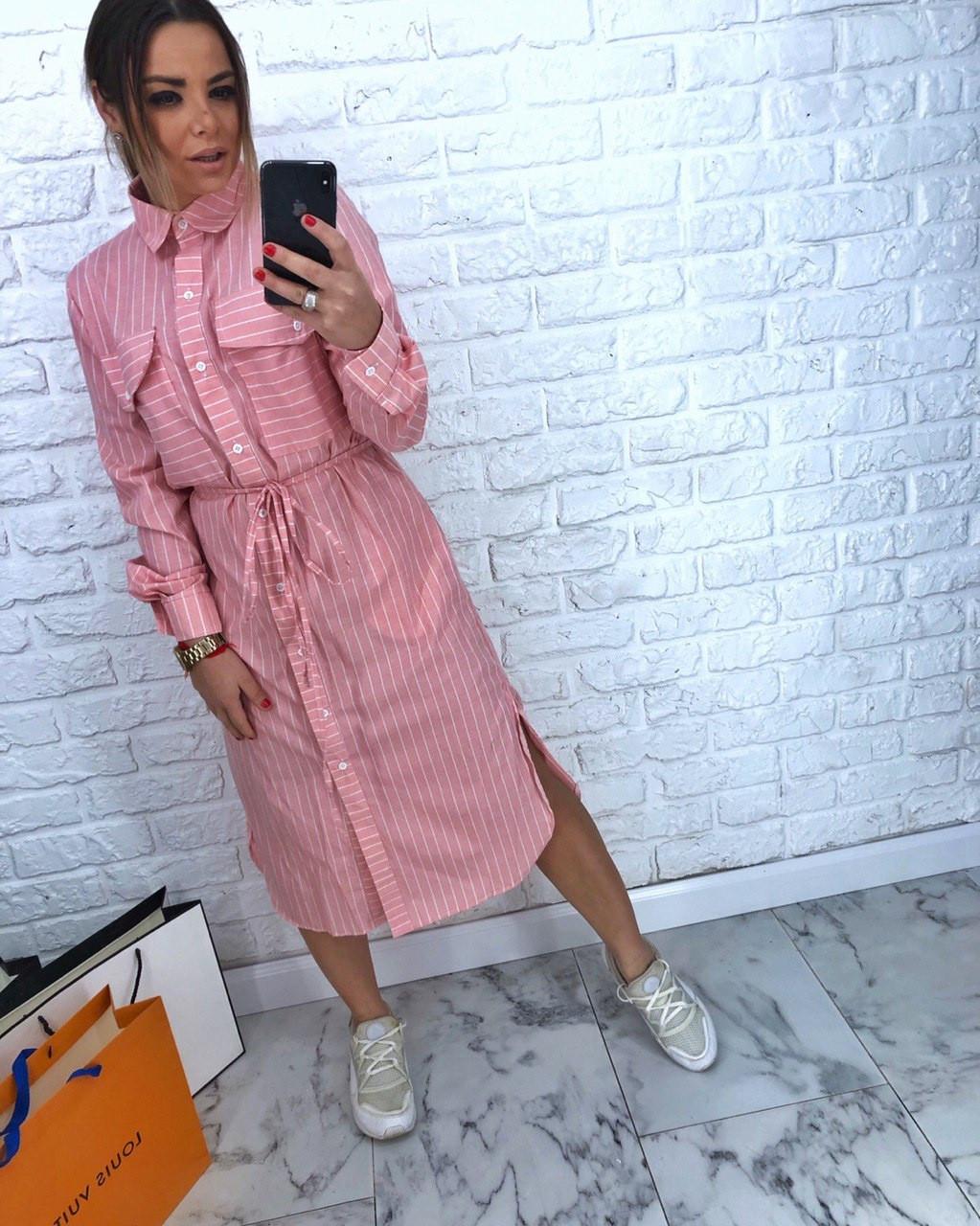 ab24807d1c7 Розовое Женское Платье Рубашка в Полоску — в Категории