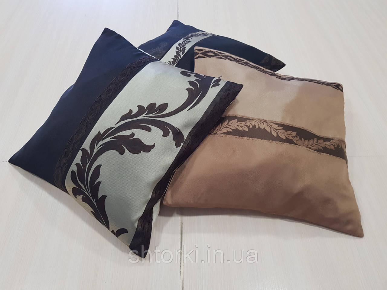 Комплект подушек коричневые, шоколад, беж, 3шт