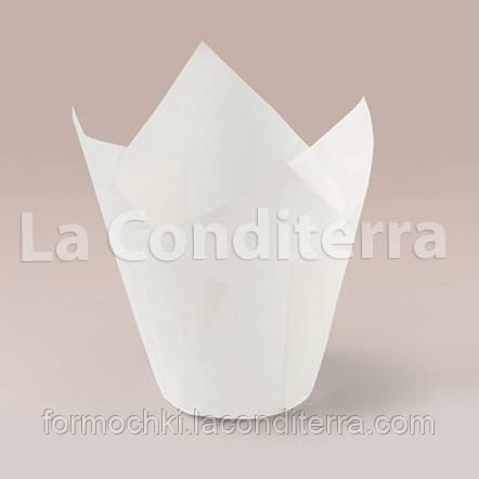 Белые формочки для кексов Тюльпан (150 шт., d=50 мм, высота бортика=60/80 мм)
