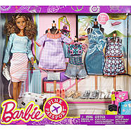 Подарочный набор кукла Barbie с набором одежды / Barbie Pink Passport Fashion Set - Brunette , фото 4