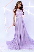 Вечернее воздушное платье макси лавандовое