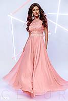 Вечернее воздушное платье макси персиковое