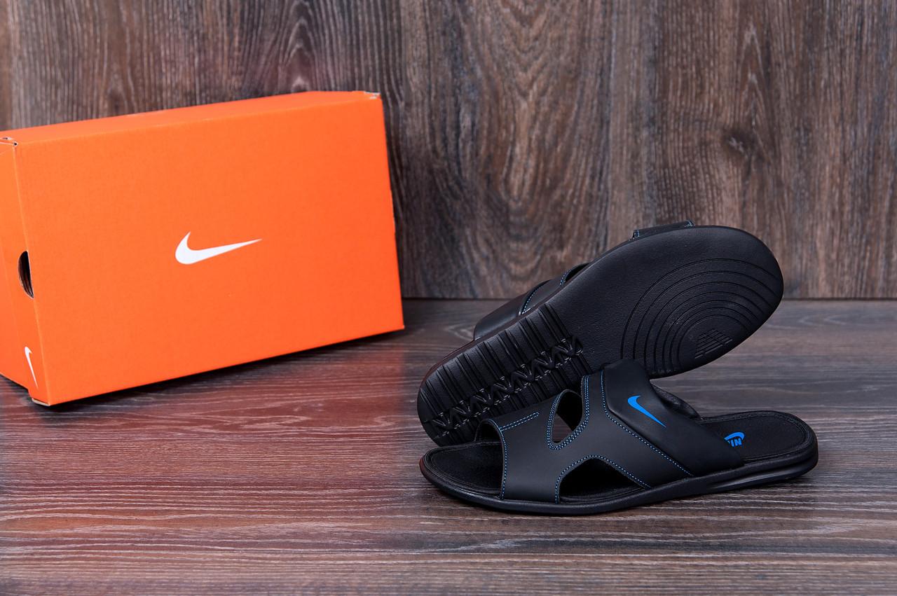 63c63b5a Мужские кожаные летние шлепанцы-сланцы Nike Classic (реплика) - Інтернет  магазин