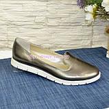 Туфли кожаные на низком ходу, цвет никель, фото 2