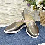 Туфли кожаные на низком ходу, цвет никель, фото 3