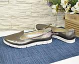 Туфли кожаные на низком ходу, цвет никель, фото 4