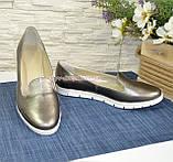 Туфли кожаные на низком ходу, цвет никель, фото 5