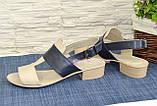 Босоножки женские кожаные на невысоком каблучке, цвет бежевый/черный, фото 3