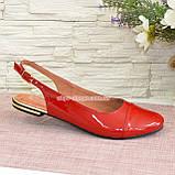 Жіночі лакові босоніжки із закритим носком і відкритою п'ятою, колір червоний, фото 2