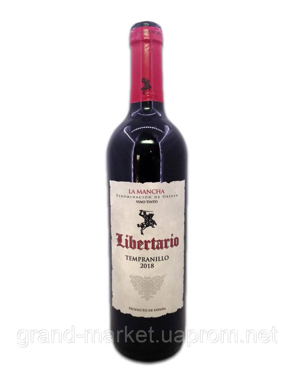 """Вино красное """" Libertario la Mancha """" 0,75 л"""