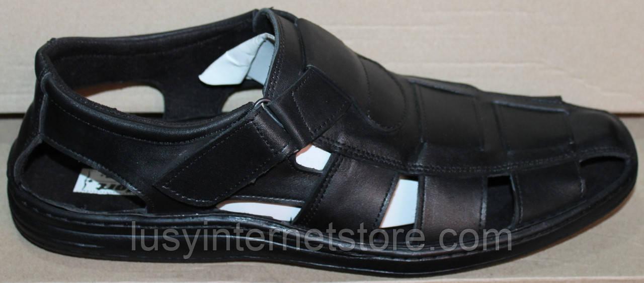 43328eff06c1 Мужские сандалии кожаные на липучке от производителя модель АМТ04Л ...