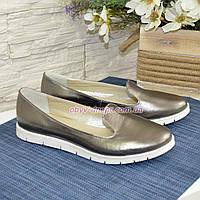 Туфли кожаные на низком ходу, цвет никель, фото 1
