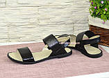 Босоножки женские комбинированные на низком ходу, цвет черный, фото 3