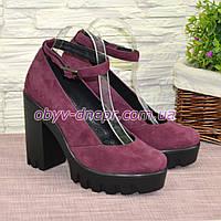Женские туфли на тракторной подошве, из натуральной замши фиолетового цвета, фото 1