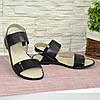 Босоножки женские комбинированные на низком ходу, цвет черный, фото 4