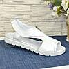 Женские кожаные белые босоножки на плоской подошве, фото 2