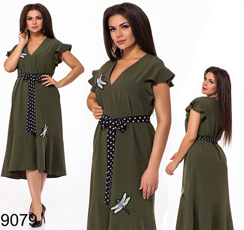 Летнее женское платье миди с V вырезом (хаки) 829079