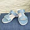 Шлепанцы женские на маленьком каблуке, натуральная кожа сатин, фото 5