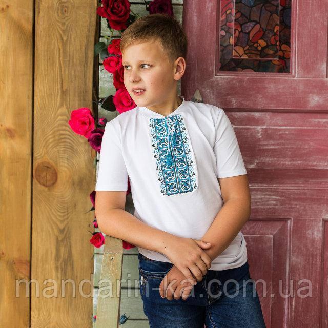 Футболка вышиванка для мальчика Синий орнамент