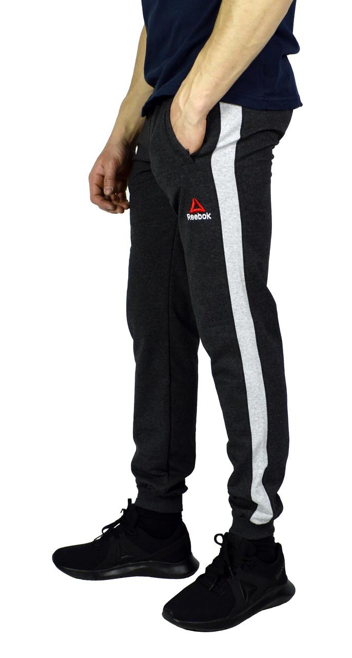 Серые мужские спортивные штаны с манжетами REEBOK