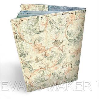 Обложка на паспорт кожаная Винтажный узор, фото 2