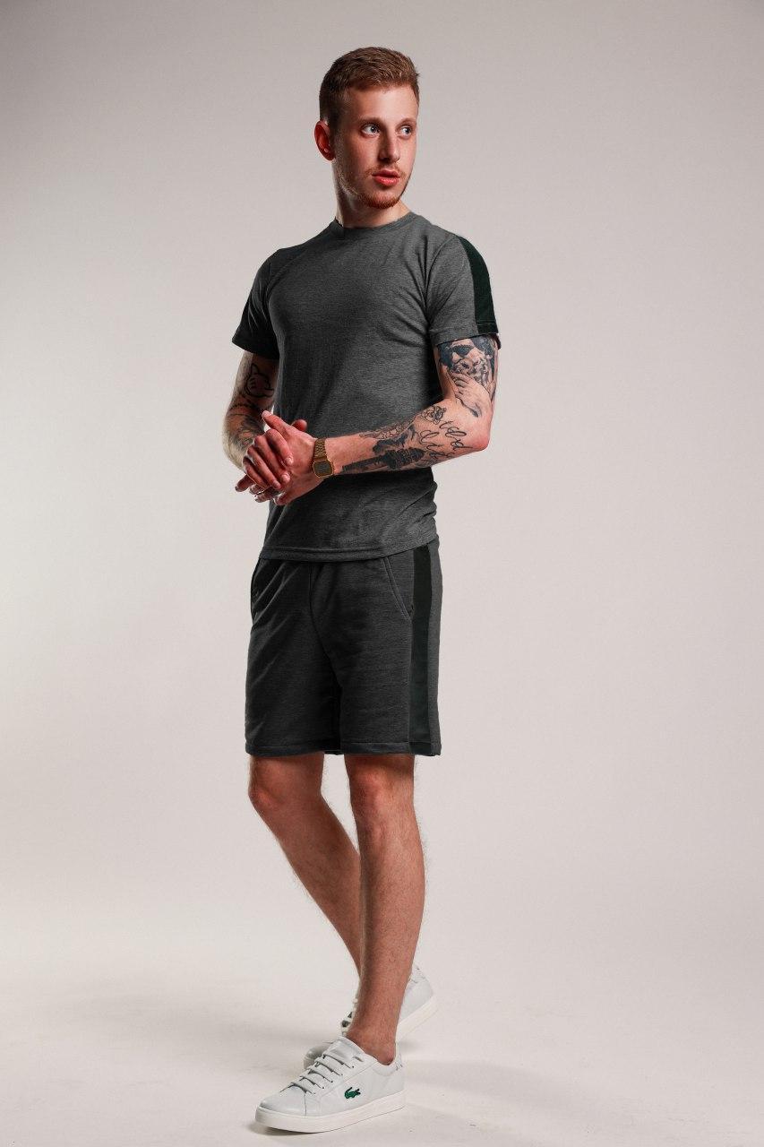Футболка + шорты с лампасами мужская летняя стильная, цвет темно-серый, фото 1