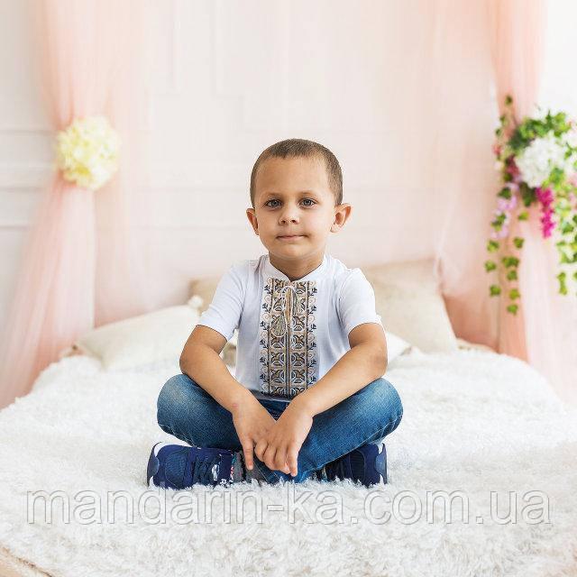 Футболка вышитая крестиком для мальчика Коричневый орнамент