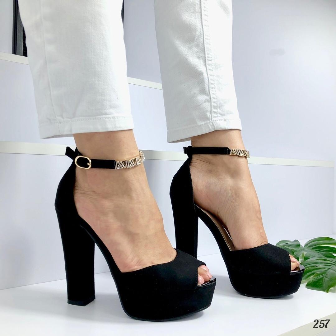 Босоножки Nimfa ремешок-браслет на каблуке и платформе черные