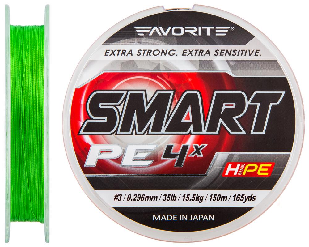 Шнур Favorite Smart PE 4x 150м Салатовый #3.0/0.296мм 15.5кг