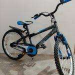 """Велосипед 20"""" дюймов 2-х колесный Azimut stitch, металик с голуб, доп.ручной тормоз, звоночек"""