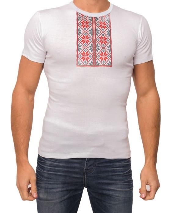 Белая футболка мужская вышиванка летняя трикотажная хб Украина