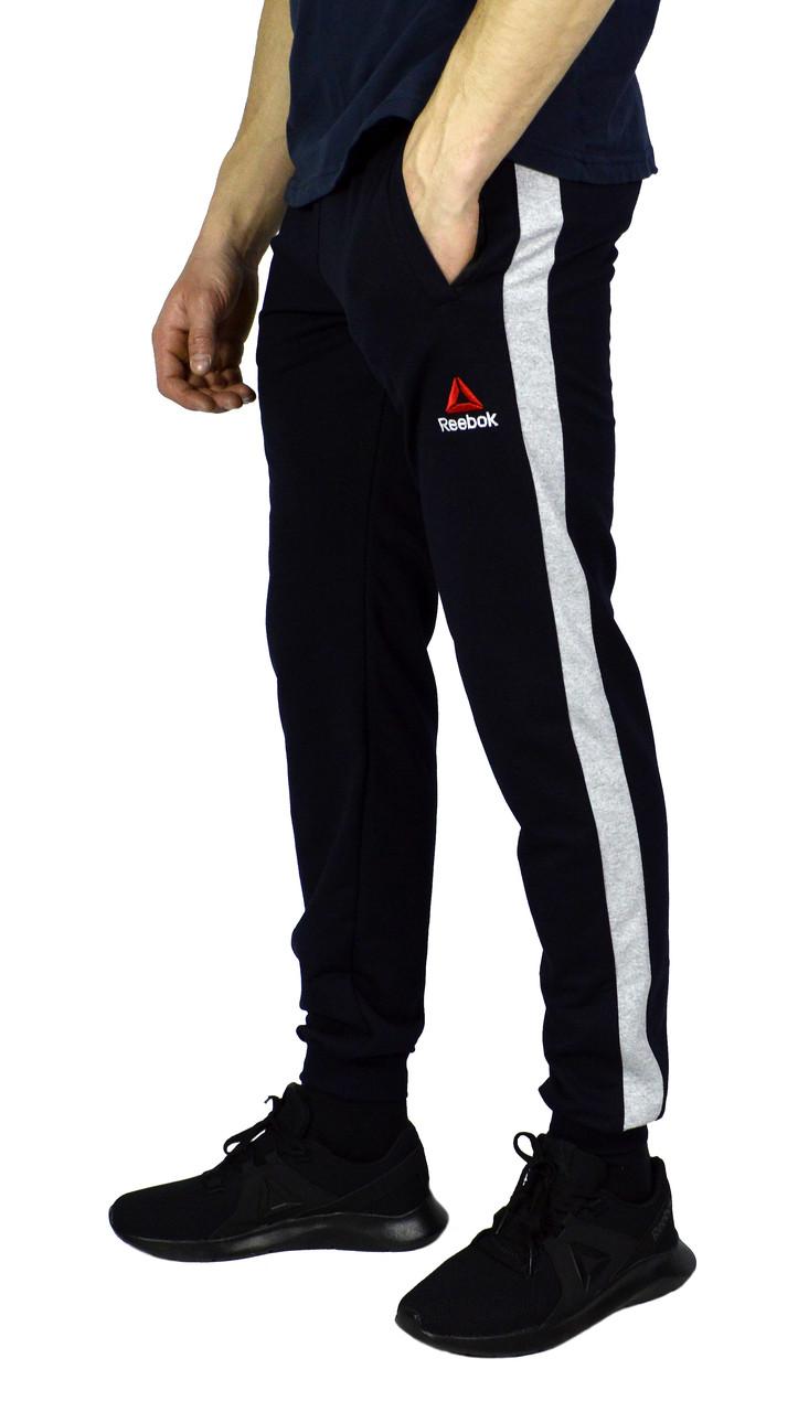 Темно-синие мужские спортивные трикотажные штаны с манжетами REEBOK