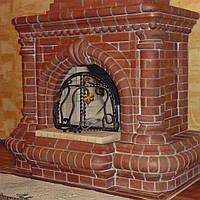 Кладка каминов из кирпича, ремонт, врезка дверей со стеклом в существующий камин